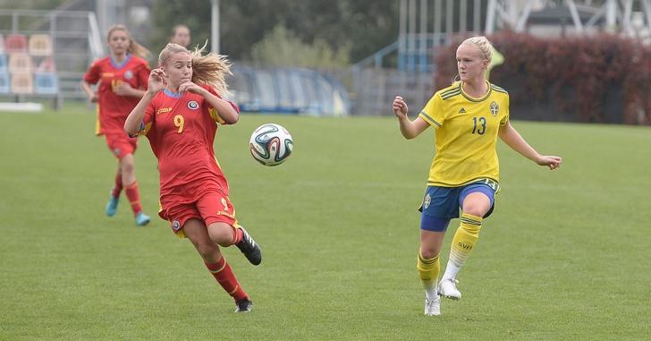 Fotbal feminin: Suedia - România 13-0, în preliminariile CE U17